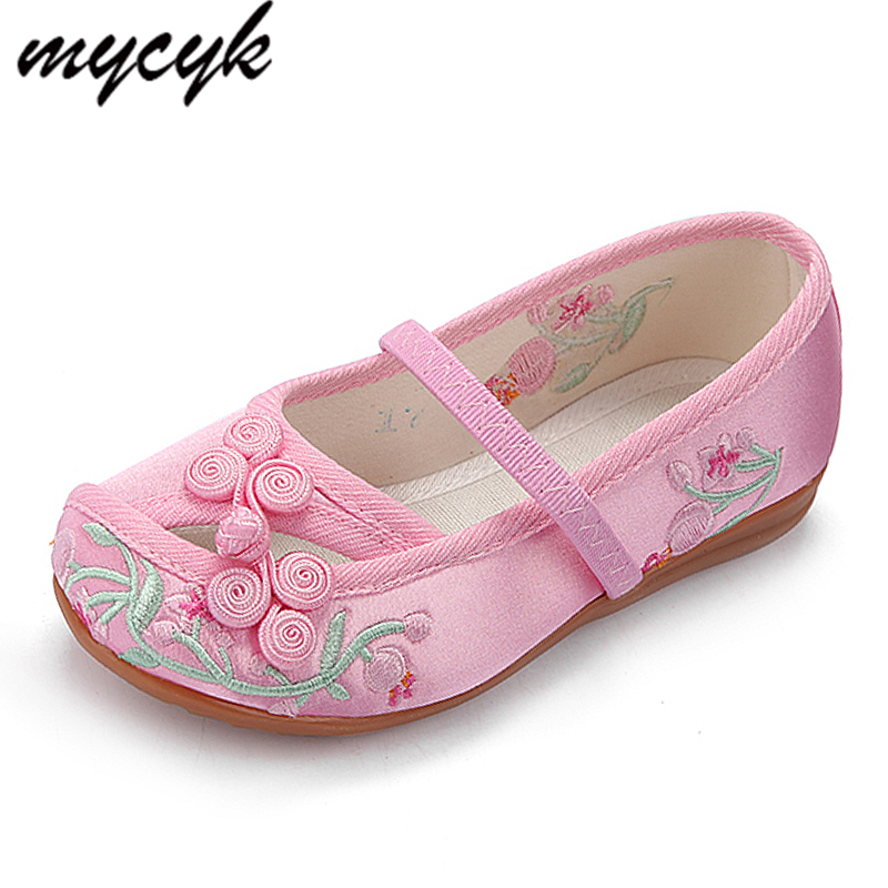 3 Colors Kids Flats Children Shoes Sweet Spring Summer Girls Shoes With Embroidery Comfortable Slip On Girl Flat Shoes