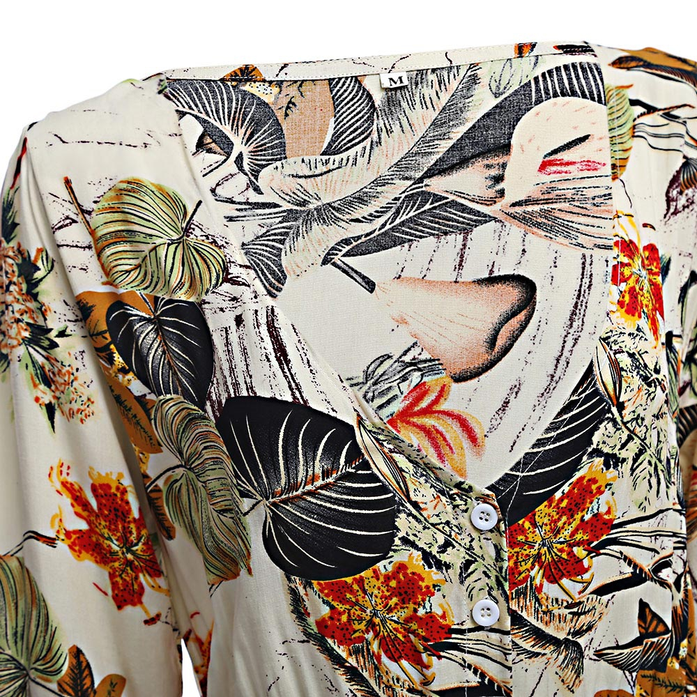 VESTLINDA Vintage Dress Allover Floral Print Elestic Waist Split Long Dress V Neck 34 Sleeve Robe Femme Women 2017 Summer Dress 7