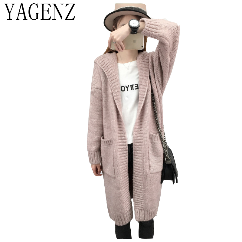 YAGENZ Autumn And Winter Womens Clothing Sweater Coat 2018 New Long Section Sweater Solid Color Hooded Women cardigan Jacket