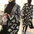 Versión Coreana de la mujer Suéter 2016 Otoño y El Invierno Nueva Sección Larga Rombo Suelta de Punto chaqueta de Punto Con Capucha AXD1524