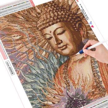HUACAN Diamond Painting Full Square Rhinestone Diamond Embroidery Cross Stitch Buddha 5D DIY Mosaic Gift