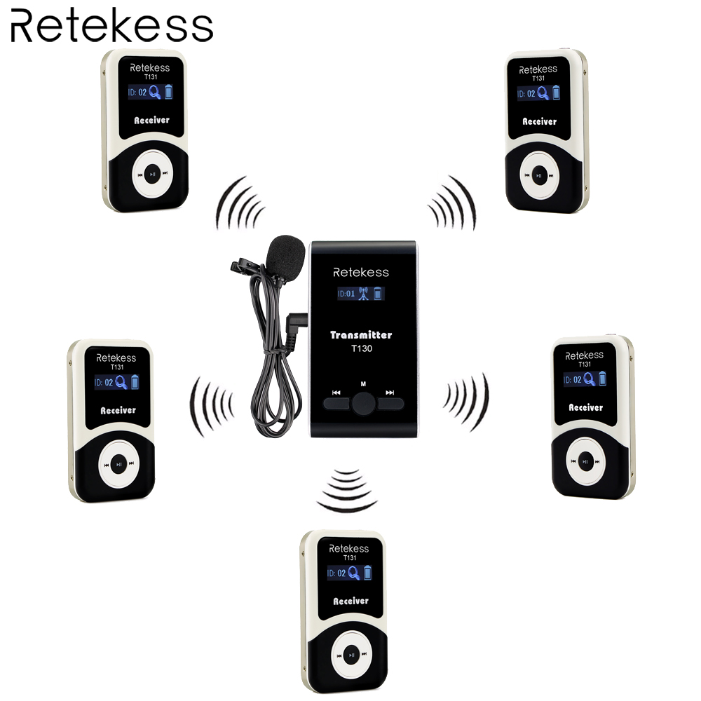 Retekess Wireless Tour Guide System 1 Transmitter+5 Receiver for Tour Guiding Simultaneous Interpretation Meeting Church F4507 недорго, оригинальная цена
