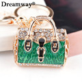 enamel handbag keychain gold plated crystal pave metal key chain for ring fashion design bag pendant factory promotion price