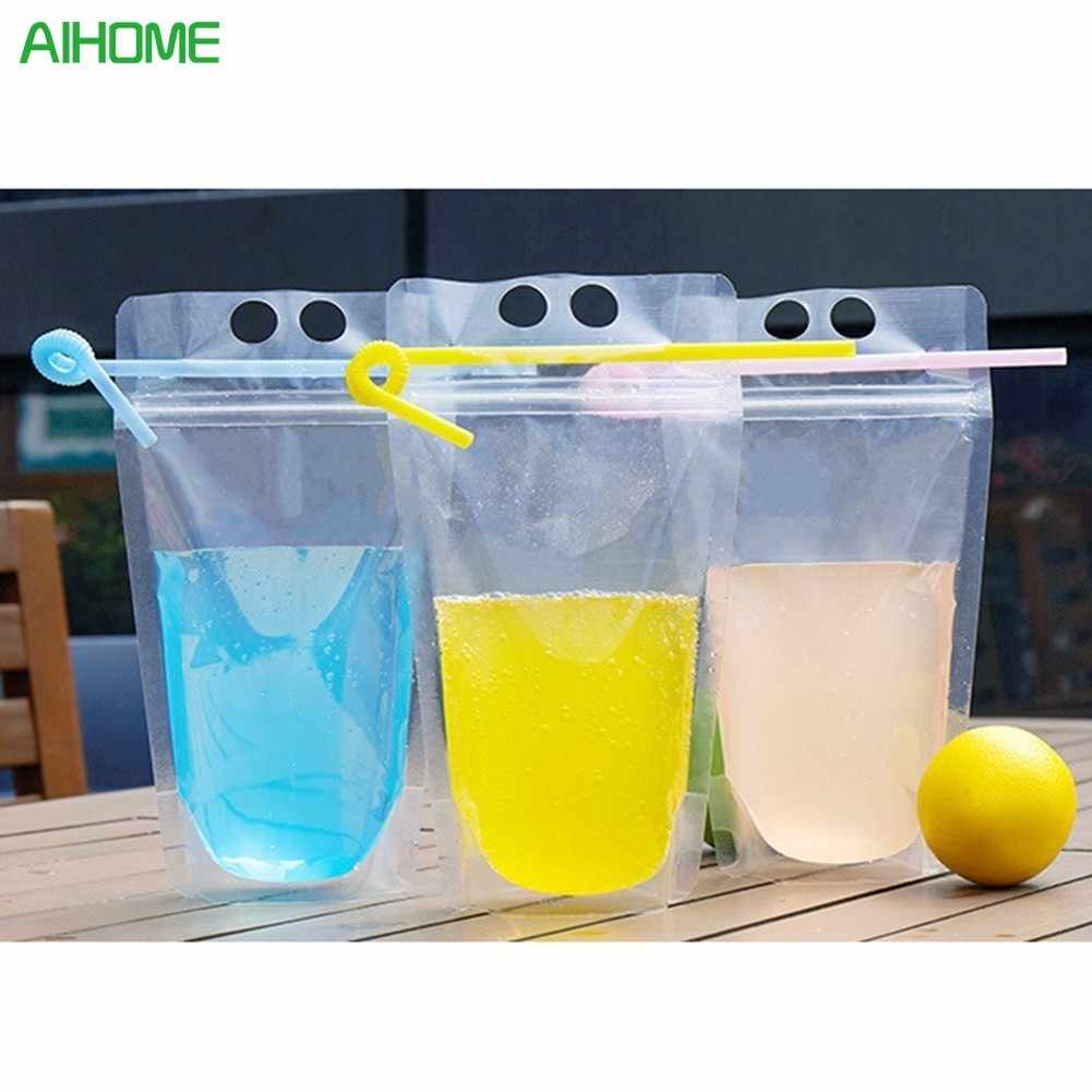 20pcs Transparent Self-sealed Plastic Beverage Bag DIY Drink  Container Drinking Bag Fruit Juice Food Storage Bag