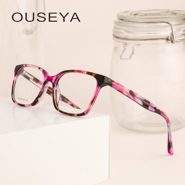 9b2890986a4d Acetate Women Vintage Eyeglasses Frame Clear Transparent Design Glasses  Women Optical  HT22109
