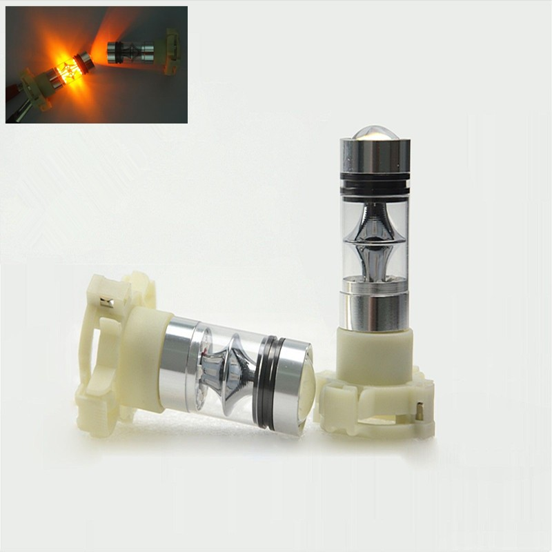 2Pcs Amber/Orange PY24W CREE Chips Plasma LED Projector bulb 75W No Error Car Turn Signal Light DRL blinker Lighting ...