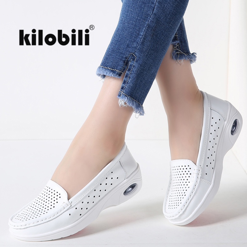 kilobili 2018 Summer Women Classic Casual Loafers shoes genuine Leather Slip on Moccasins Cut out flats