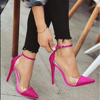 New style high heel pointed monochrome belt buckle stylish women's single shoes Rose red pink black apricot color size 34 and 43