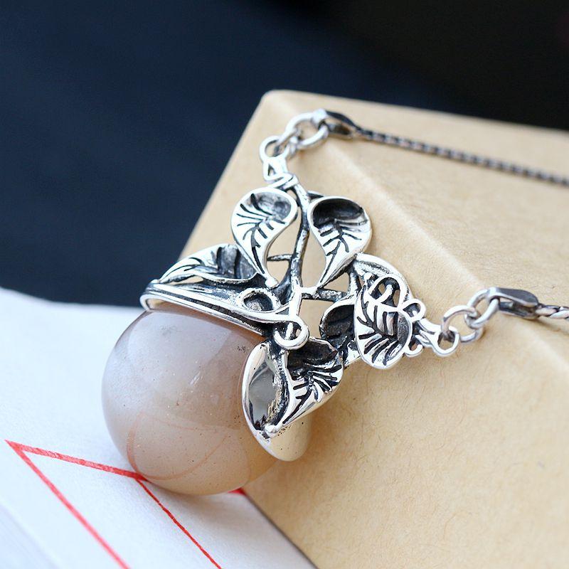 Ensemble de pendentif en argent thaïlandais en cristal de soleil naturel réglé manuellement ensemble de collier en argent sterling 925 en argent sterling