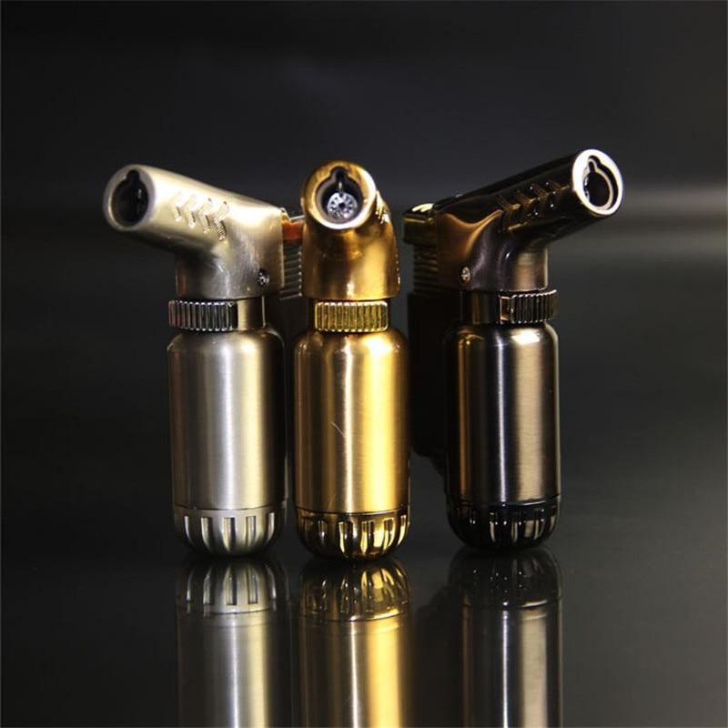 Chaud extérieur Compact Butane Jet briquet Turbo torche briquet feu coupe-vent Portable pistolet métal briquet 1300 C pas de gaz
