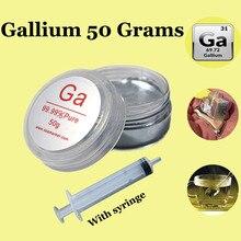 גליום מתכת 50 גרם נוזל מתכת 99.99% טהור גליום מתכת מגיע עם משלוח מזרק