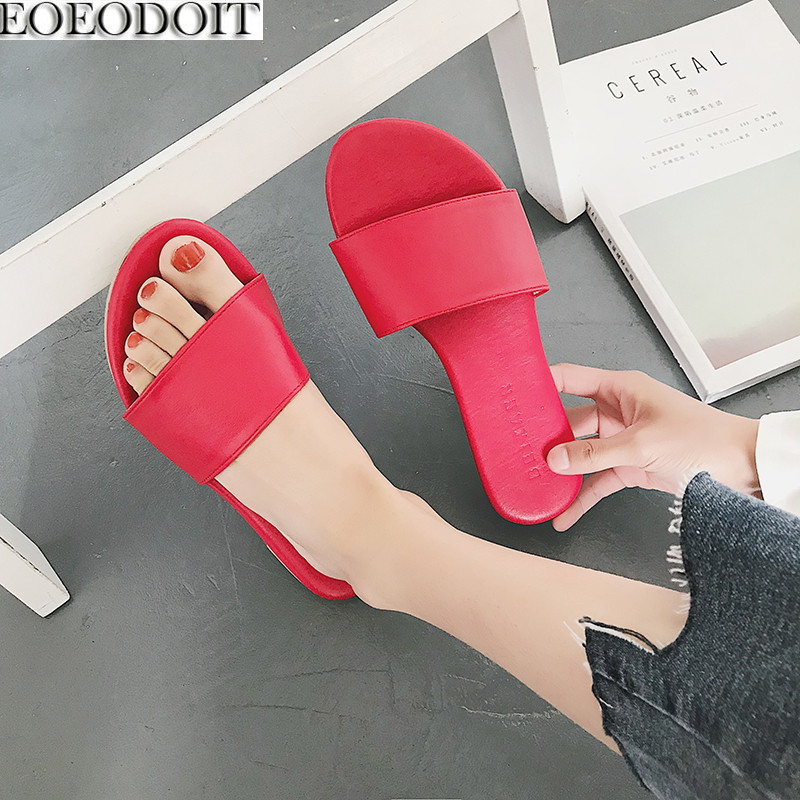 Eoeodoit 2018 Летние тапочки Обувь Для женщин кожа плоская подошва с открытым носком Повседневное снаружи Направляющие Сандалии для девочек