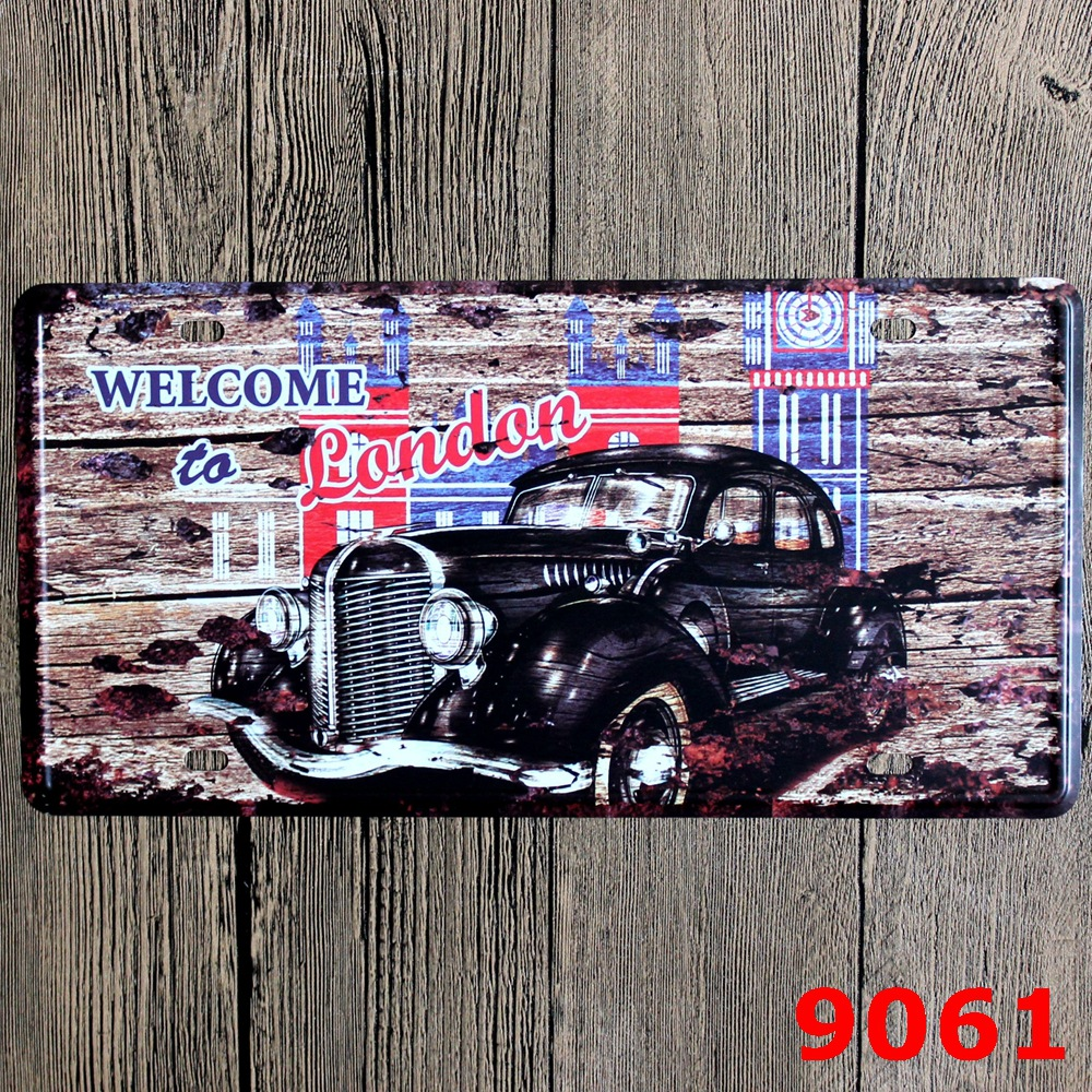 LOSICOE Vintage license plate WELCOME TO LONDON Metal signs home decor Office Restaurant Bar Metal Painting art 15x30 CM