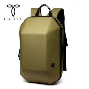 Image 1 - Mochila antirrobo de concha dura impermeable para hombre, bolso de viaje, portátil informal, creativo, Alien negro, escolar, para adolescentes