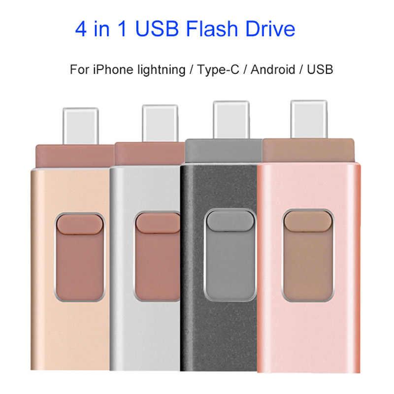 4 で 1 多機能タイプ C USB フラッシュドライブ 256 ギガバイトの携帯電話 OTG USB ペンドライブ 64 ギガバイト 128 ギガバイト金属ペンドライブ 32 グラムドロップシッピング