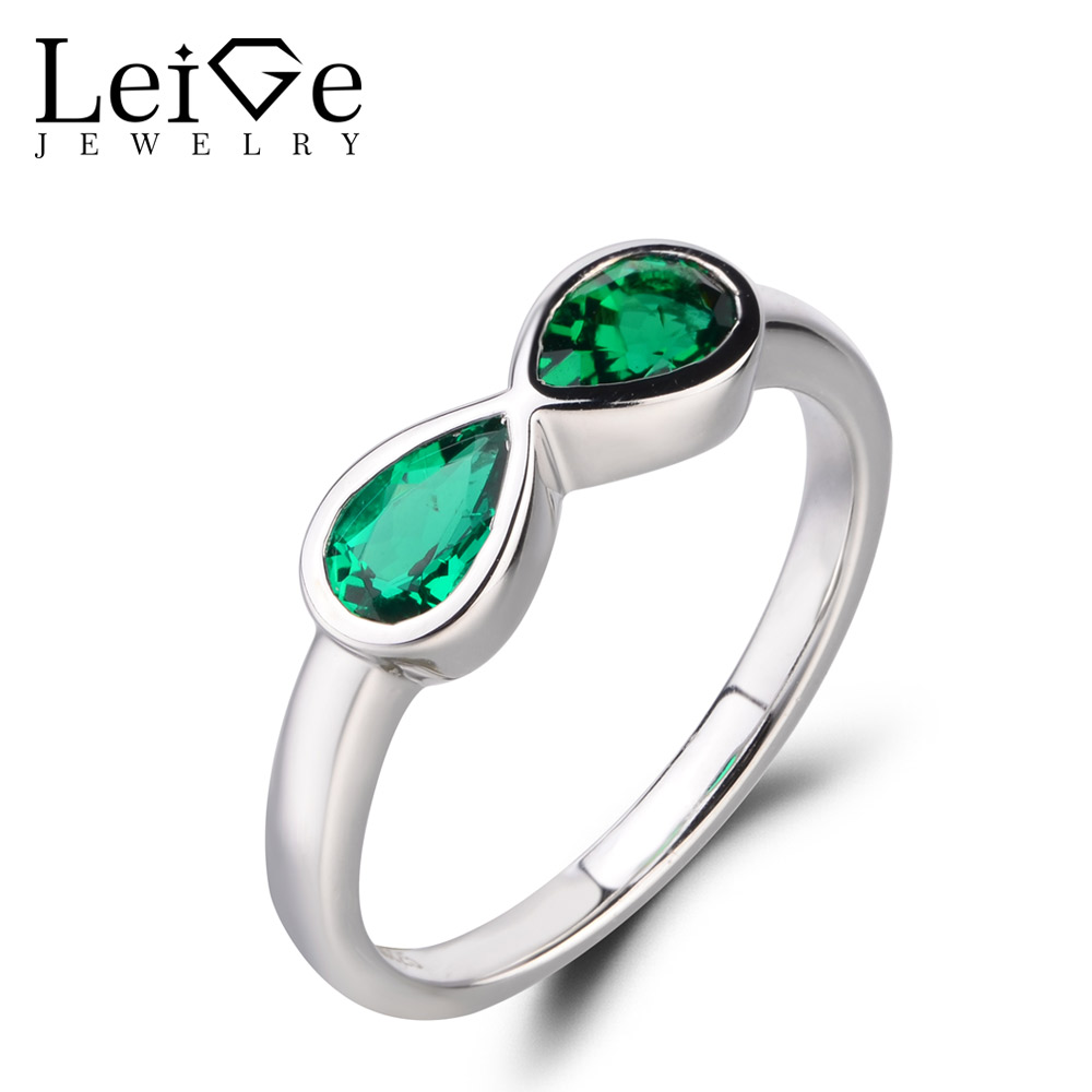 LeiGe Jewelry Emerald Wedding Rings Pear Shape Green Gemstone Rings May Birthstone Solid 925 Sterling Silver Double Stones Rings leige jewelry emerald engagement rings for women pear shaped ring sterling silver 925 fine jewelry green gemstone may birthstone