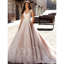 Nude Pink Princess Ball Gown Wedding Dresses Illusion Sheer Jewel Neck Lace Embellished Back Gorgeous Bodice Bridal Gowns 2016