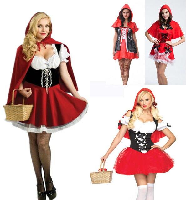 d5ef4d6067e Новый модный костюм на Хэллоуин для взрослых женщин Фэнтези Дамы Красная  Шапочка костюмы сексуальное платье для