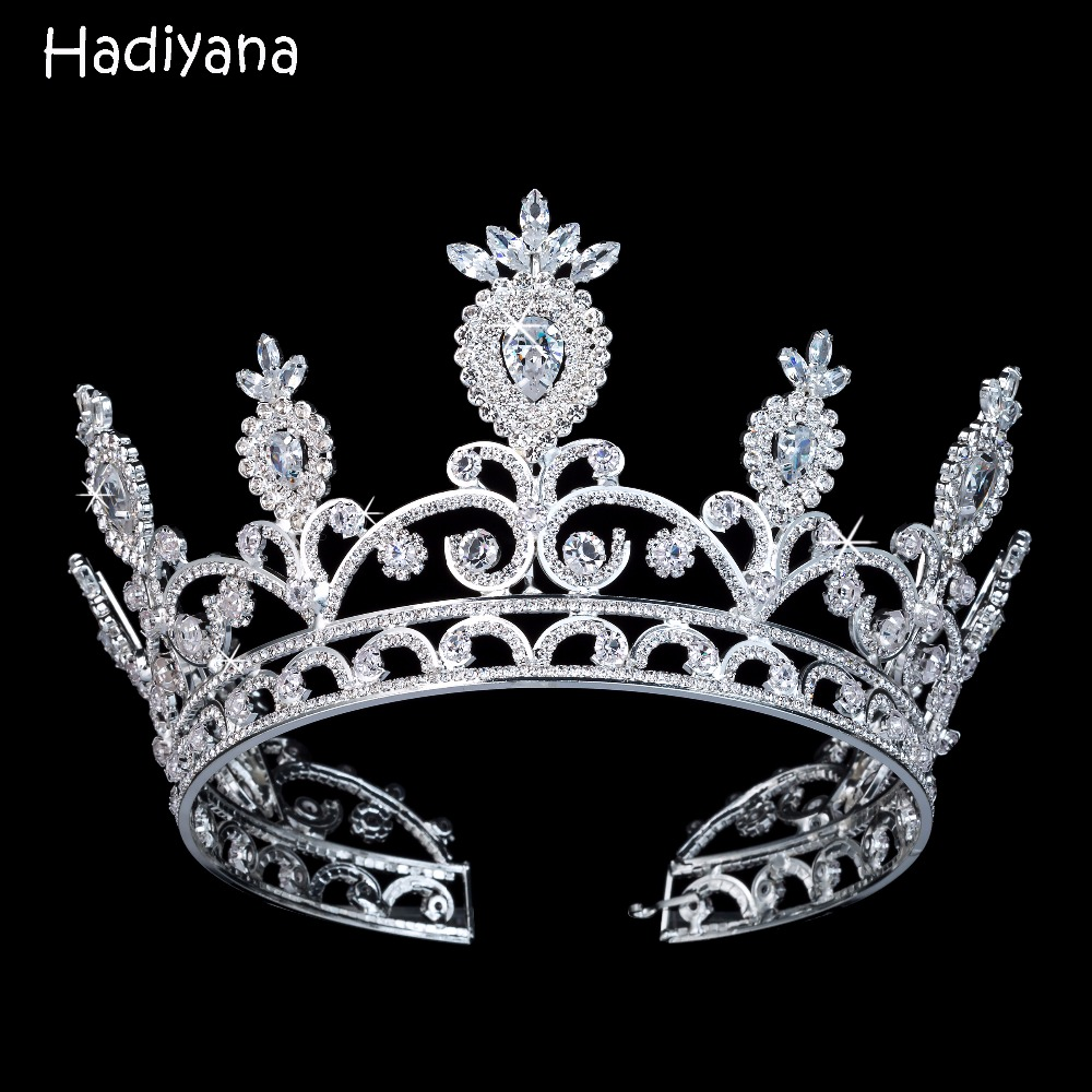 Hadiyana Luxury Sparkling CZ Crystal Bridal Girls Crown With Zicons Fashion Hair Accessories Big Copper Crowns for Women BC3108 himstory luxury sparkling cz flower bridal tiaras crown hair accessories big diadem crowns for women girls wedding party holiday