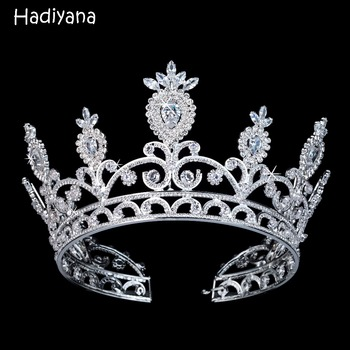 Hadiyana Luxury Sparkling CZ Crystal Bridal Girls Crown With Zicons Fashion Hair Accessories Big Copper Crowns for Women BC3108 фото