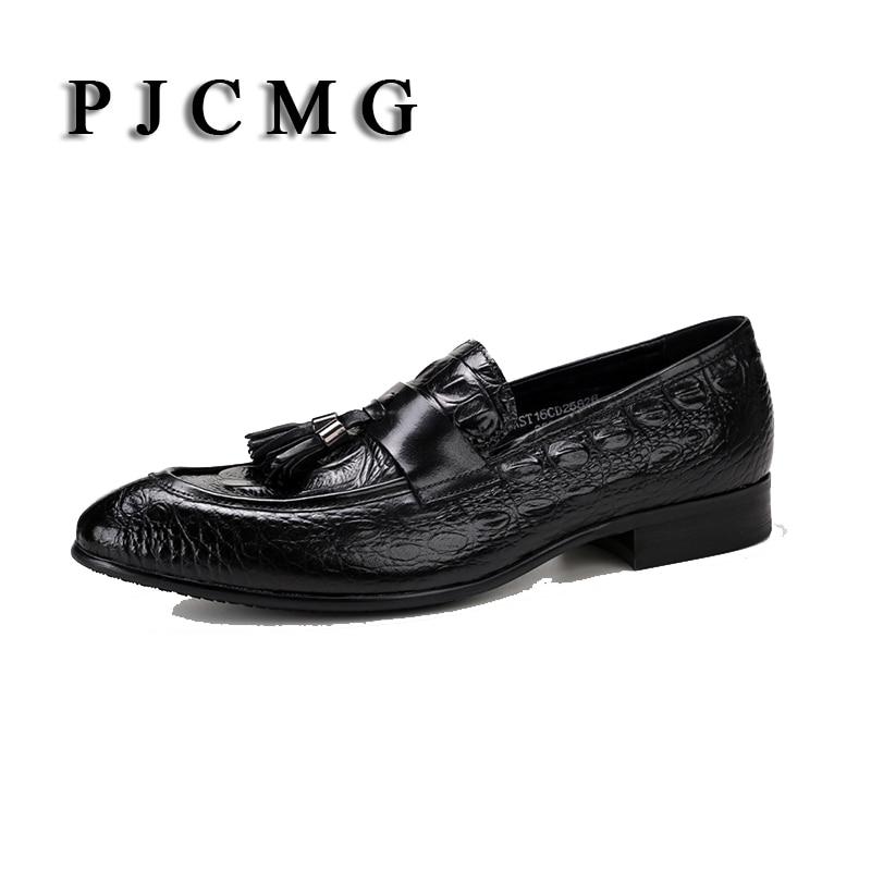 Mocassins d'été couleur Crocodile noir/rouge de haute qualité robe en cuir véritable tenue décontractée chaussures de mariage avec pompon