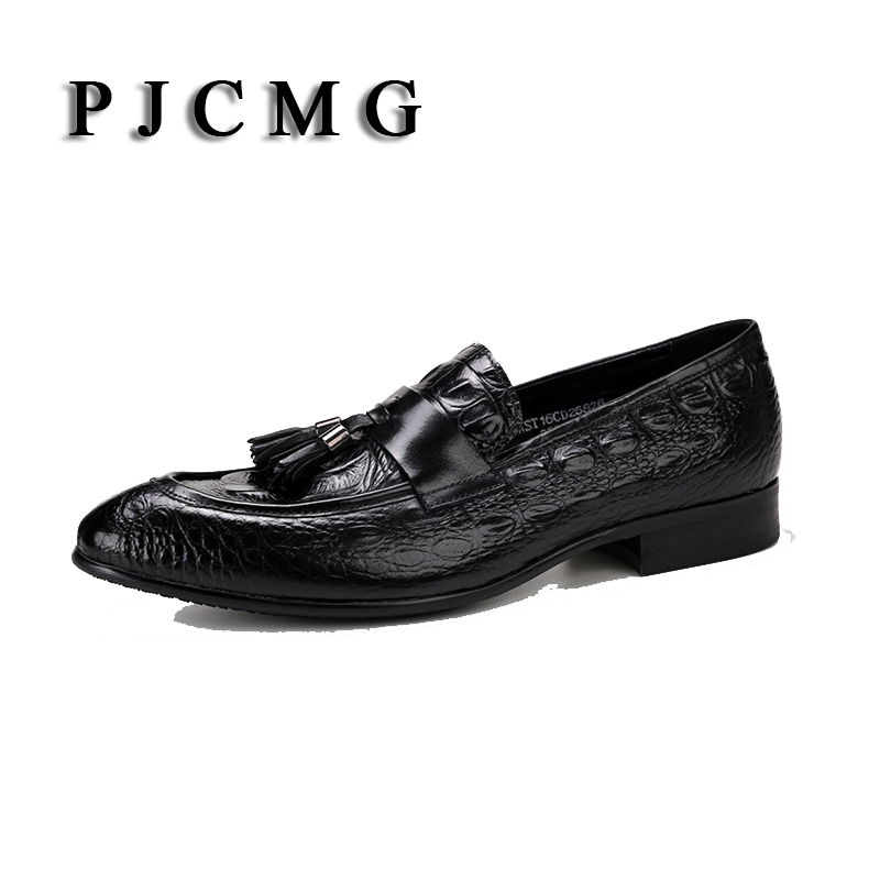 PJCMG High Quality Crocodile Black/Red Tan Summer Loafers Dress Genuine Leather Casual Dress Wedding Shoes With Tassel pjcmg crocodile grain black wine red summer flats mens loafers lace up wedding genuine leather dress mens casual shoes