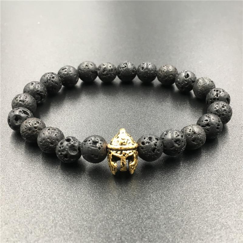 Buddha Beads Bracelet Charm Elastic Warrior Gladiator Helmet Natural Stone Bracelet Hand Lava Bracelet Men Women Jewelry Gift