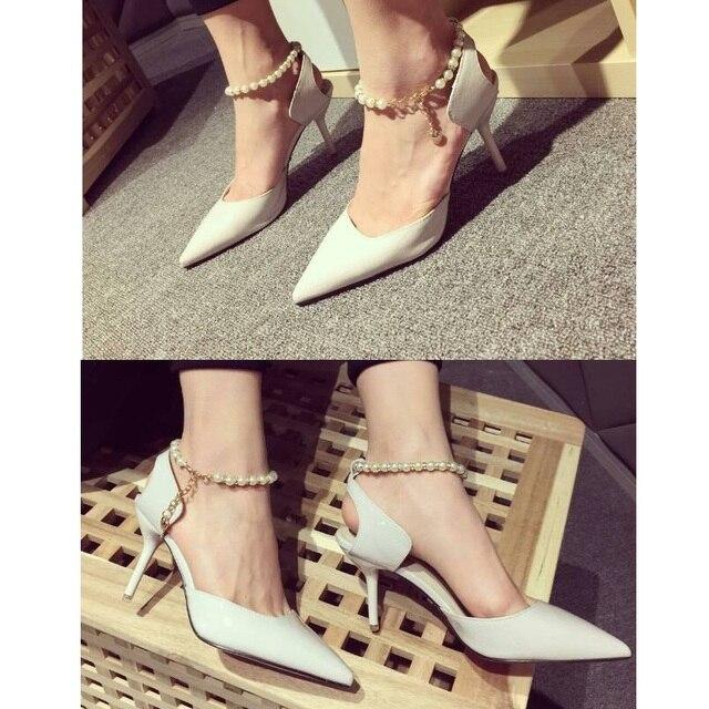 43914984b211 Pump sandals high heel flats shoes Pearl shoeslace Rhinestone shoelace shoes  belt ankle chain wedding diy shoe decoration 1pair
