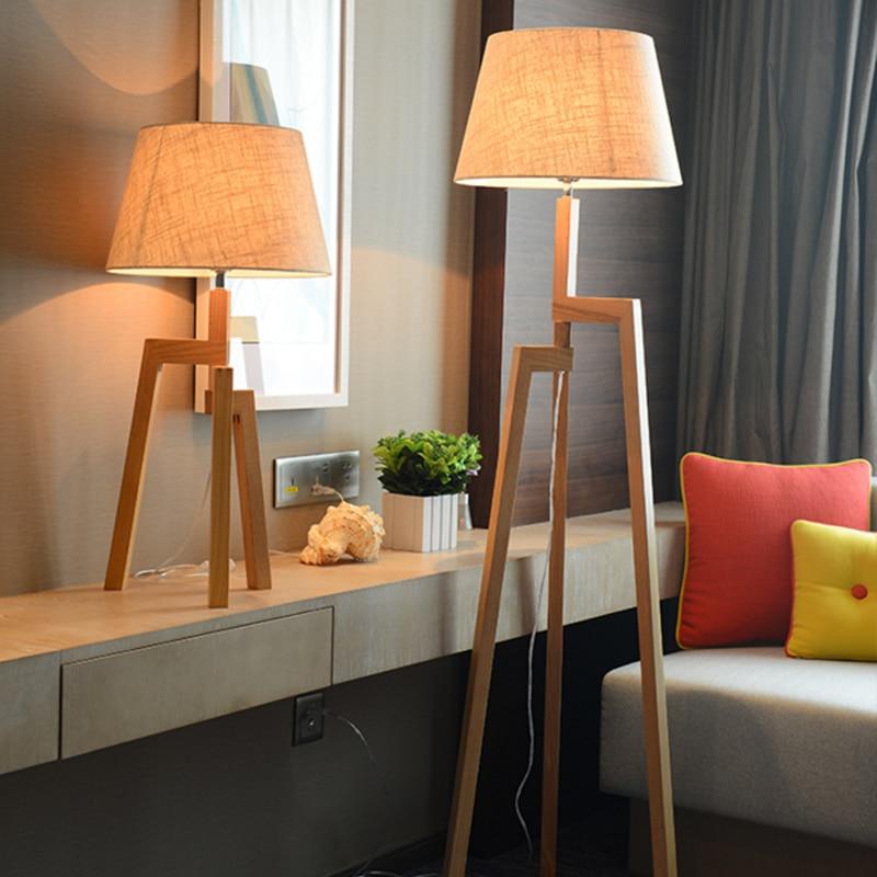 Chinese solid wood floor lamp livingroom study bedroom bedside floor lamp simple modern creative personality oak three foot lamp