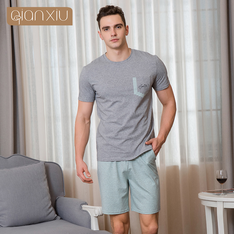 Qianxiu Men's New Short-Sleeved Cotton Pajamas Solid Color Striped Casual Wear Hot Selling 1890