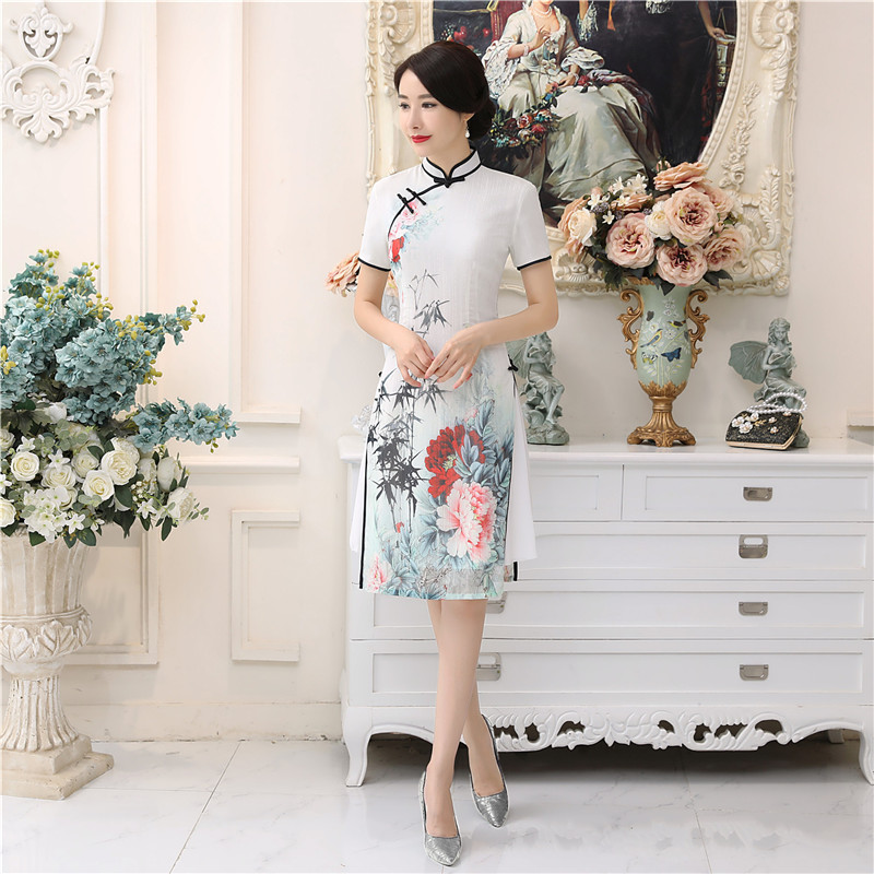 Shanghai Story Aodai blanco vestido vietnamita para las mujeres vestido tradicional de la rodilla vestido Oriental Cheongsam de estilo chino Kimono japonés cárdigan tradicional obi yukata mujeres kimonos japoneses tradicionales ropa de Japón mujeres kimono cardigan V1403