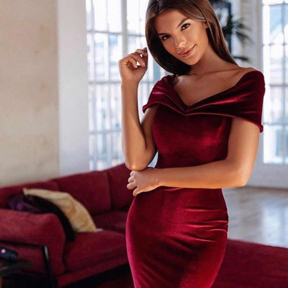 Summer Dress 2019 Fashion Vestidos Women Off Shoulder Solid Short Sleeve Buttock knee length Dress Elegant Sundress Ropa Mujer in Dresses from Women 39 s Clothing