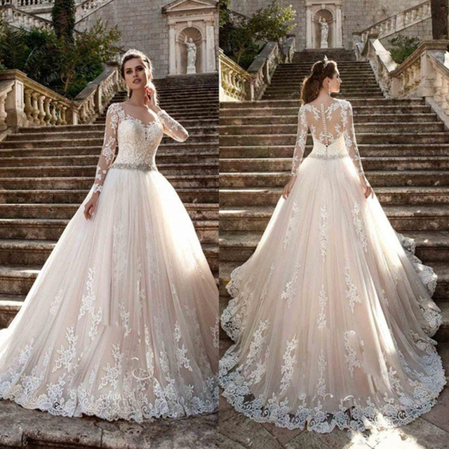 Vintage Scoop Wedding Dresses Long Illusion Sleeves Lace Applique Beading Waist Sweep Train Bridal Gown Dress with Back Buttons