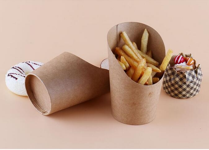 500pcs/lot 12oz Disposable kraft paper cup French fries Fried chicken Snack boxes DIY baking packing cup #EH68