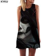KYKU Brand Skull Dress Women Graffiti Vestido Sexy Black Cosplay Boho Gothic 3d Print Womens Clothing Elegant
