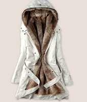 Women Winter Fashion Faux Fur Lining Hoody Coat Women's Goose Down Parka winter warm PLUS Size jacket