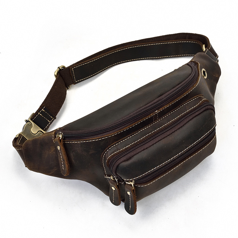Luufan Leather Waist Bag Men Casual Crazy Horse Leather Fanny Pack Phone Sunglasses With Earphone Hole Sports Waist Packs