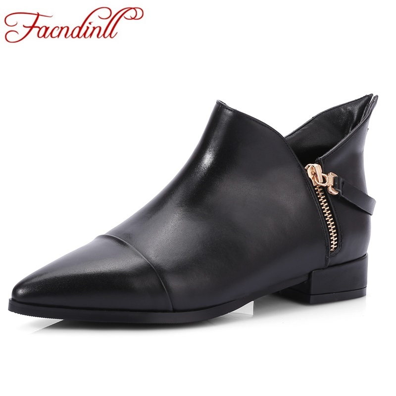 FACNDINLL women dress shoes 2017 new autumn shoes ladies ankle boots genuine leather square heels black shoes woman riding boots new 2018 women boots fashion platform square high heels genuine leather ankle boots for woman flower design ladies shoes