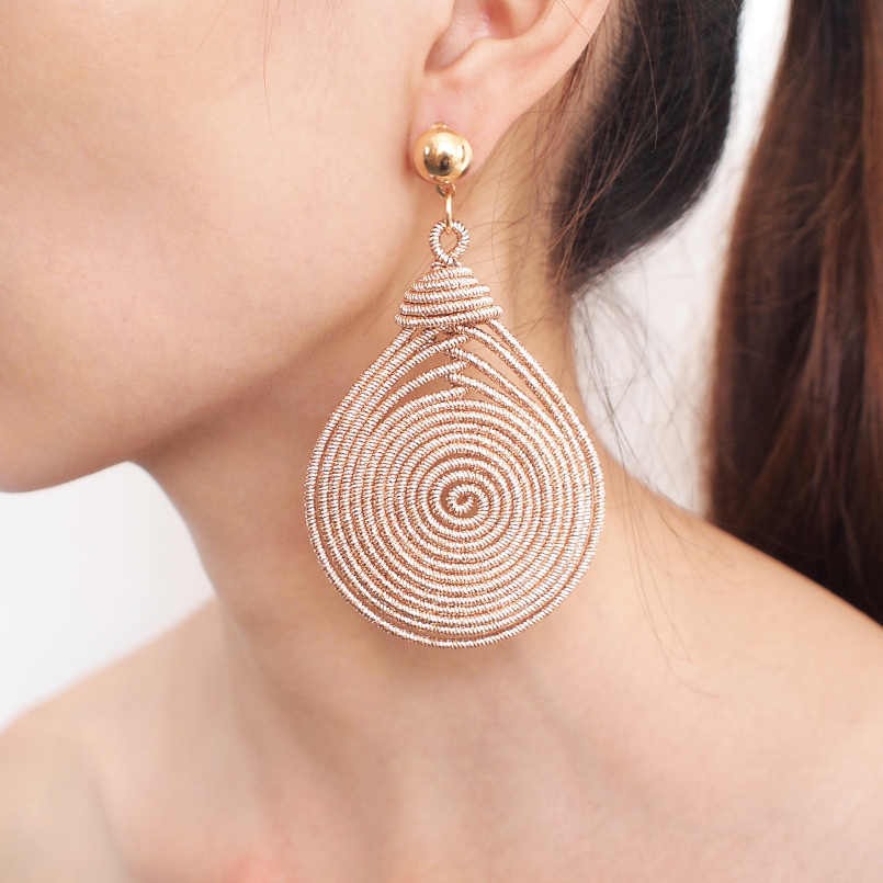 MANILAI Bohemian Alloy Spiral Round Statement Earrings Women's New Vintage Metal Drop Dangle Earrings Fashion Jewelry Wholesale