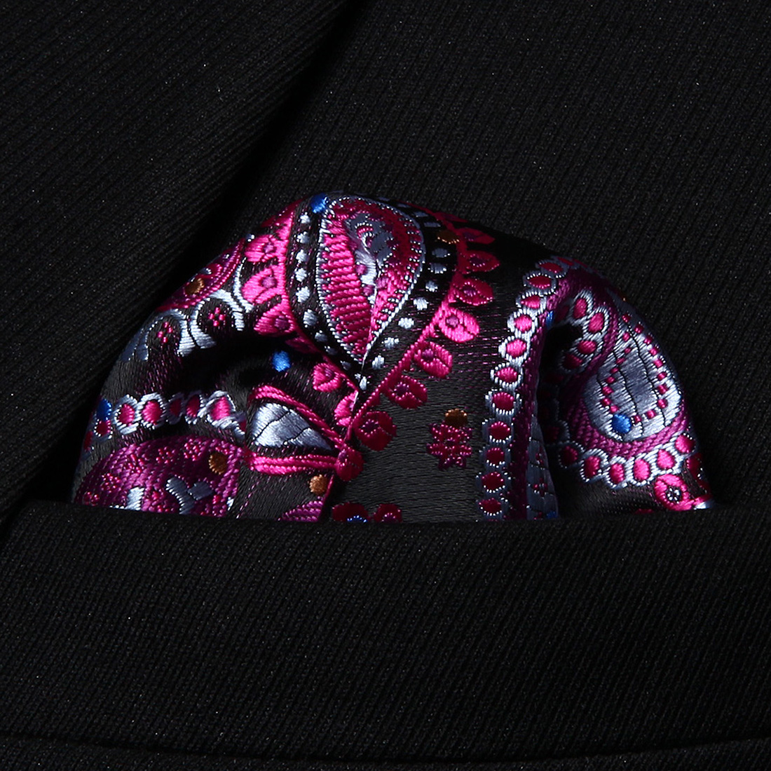 HP706H Hot Pink Blue Paisley Men Silk Party Handkerchief Pocket Square Hanky