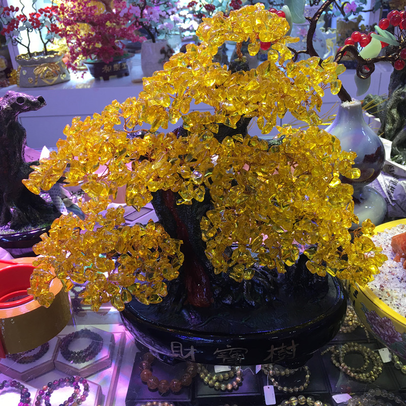 Extra large natural quartz crystal small yellow crystal tree