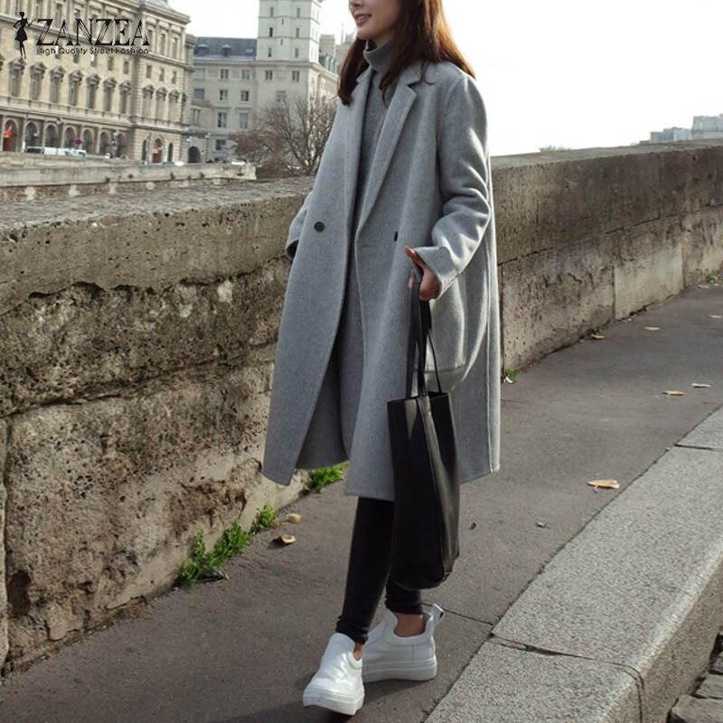 2020 ZANZEA Winter Women Lapel Wool Blends Coat Female  Long Sleeve Double-breasted Long Jacket Casual Plus Size Solid Outerwear