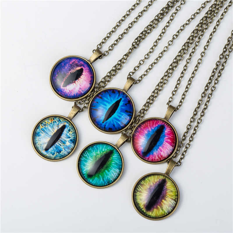 2017 Vintage Jewelry Wholesale Blue Green Cat Eye Necklaces Pendant Fashion Charming Glass Necklace for Men Women
