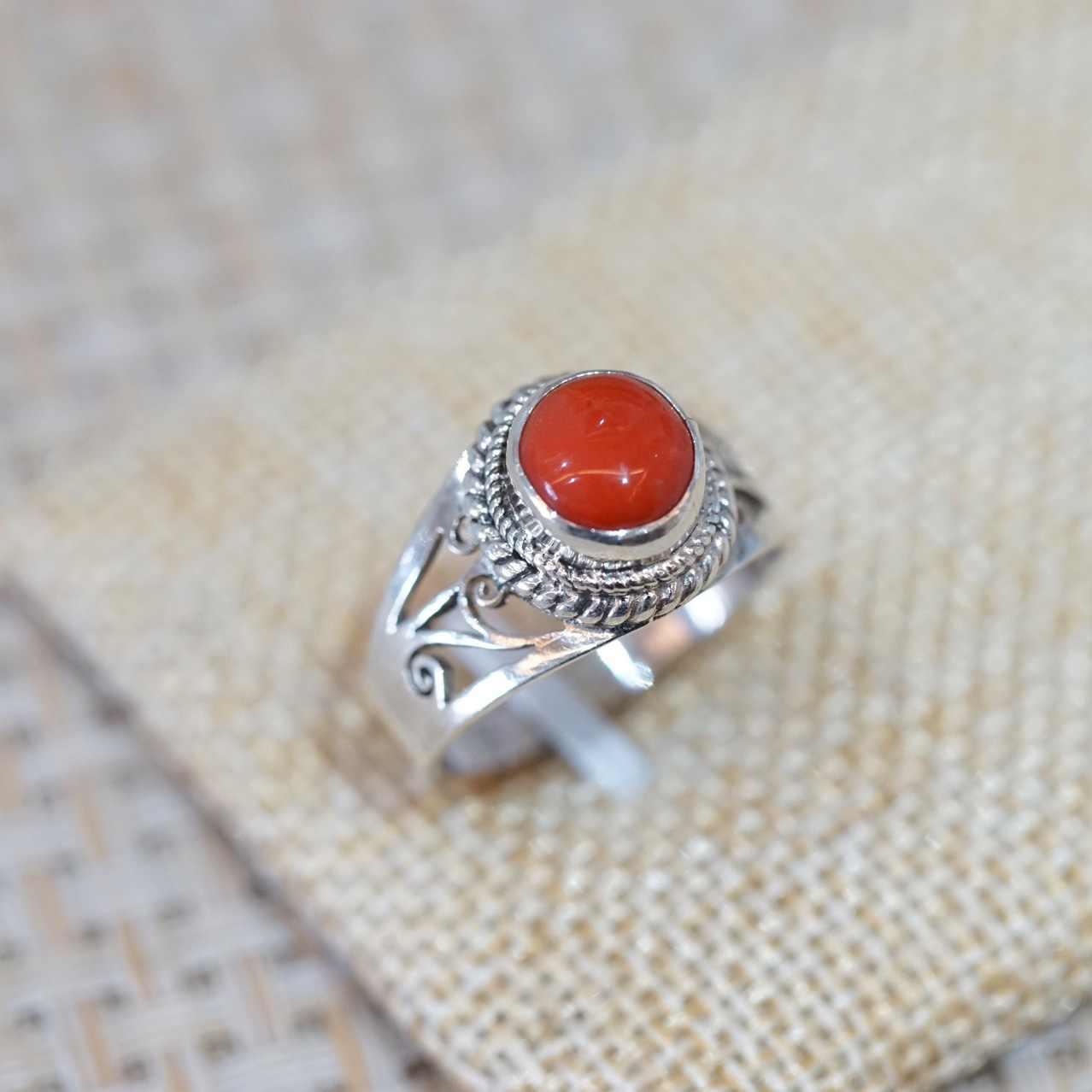 T9186 เนปาล 925 เงินฝังธรรมชาติ Coral แหวนแหวน