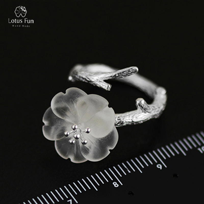 Lotus Fun Luxury Brand Genuine Sterling Silver 925 Ring for Women Natural Crystal Flower Open Adjustable