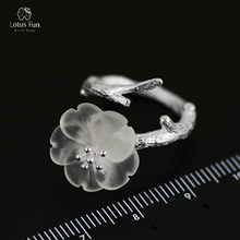 Lotus Diversión de la Marca de Lujo Genuino Plata de Ley 925 Anillo para Las Mujeres Naturales de Cristal Flor Anillo Abierto Ajustable Bandas de Joyería Fina