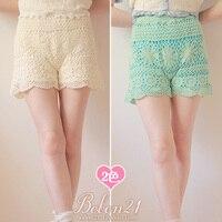 Sweet lolita pants princess royal pink gentlewoman young girl bobon21 crochet summer laciness shorts wave full lace b0799