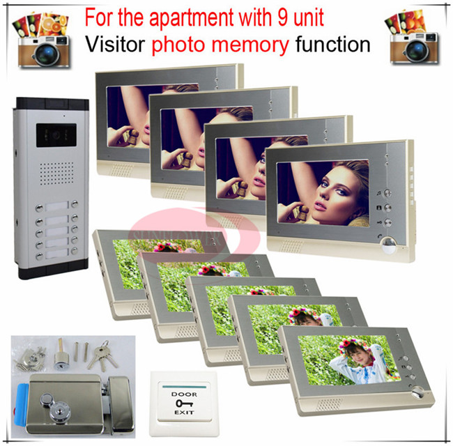 9v9 Take Photos Color Video Door Phone Intercom Doorbell System  For Nine Units Apartment  + Electronic control lock