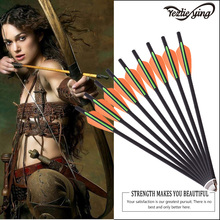 6PCS  13 /16/ 18/ 20Inch Carbon Arrows Orange Green Feathers Archery Hunting and Longbow Shooting The Best Bow
