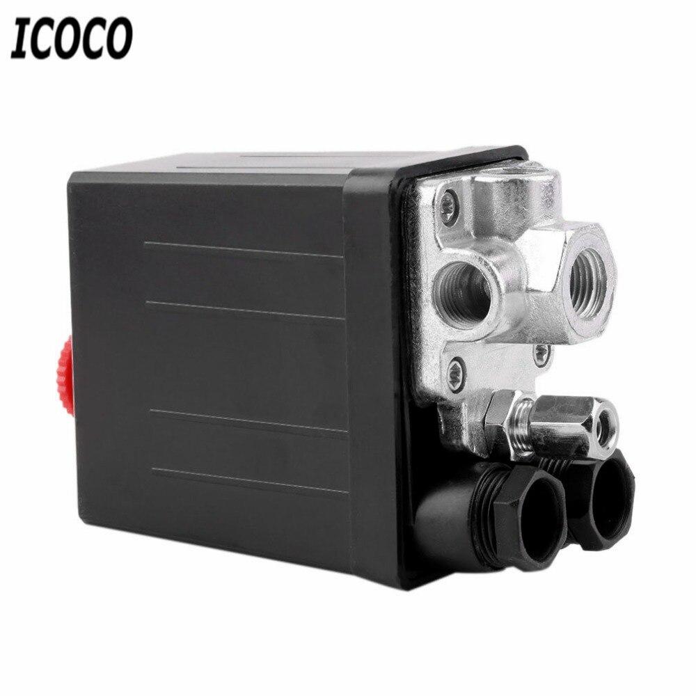 Soupape de commande de pressostat de compresseur d'air 90-120 PSI 240V16A commutateur de charge/déchargement automatique commutateur de pompe robuste